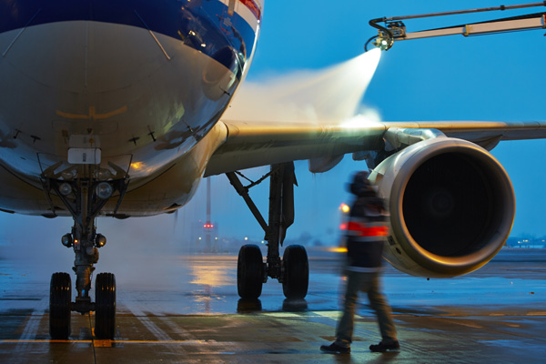 Aircraft being treated with Antifreeze