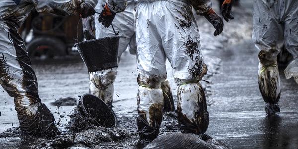 Oil spill on shoreline