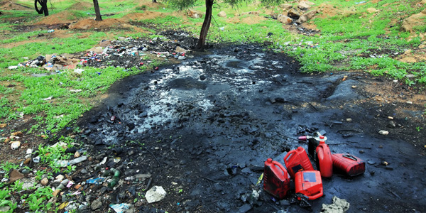 Ground contaminated with oil